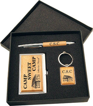 Wood Pen, Keychain and Business Card Holder Gift Set in Black Presentation Box