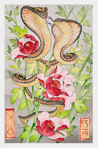 Two-Headed Cobra in Peonies