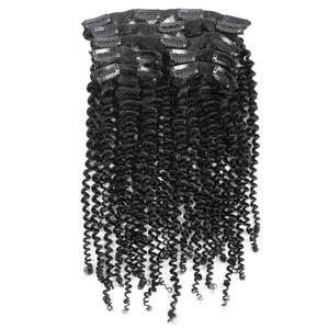 SPA HAIR 7 Pieces/Set Kinky Curly ClipIn Hair Extensions 100% Virgin Remy Human Hair