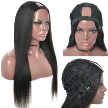 Load image into Gallery viewer, Yaki Straight U Part Wig Human Hair Wigs 100% Brazilian Virgin - Natural Color