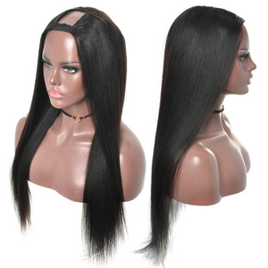 Yaki Straight U Part Wig Human Hair Wigs 100% Brazilian Virgin - Natural Color
