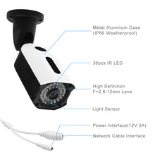Load image into Gallery viewer, JideTech POE 5MP IP HD 2592x1944 Security 4X Zoom Bullet Camera
