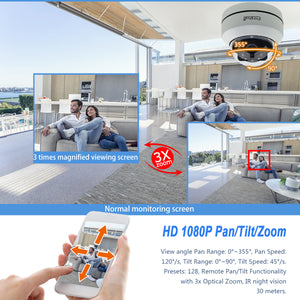 1080P PTZ Dome IP Camera POE 3X Zoom