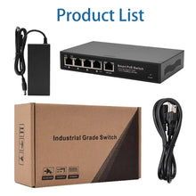Load image into Gallery viewer, JideTech 5-Port Ethernet POE Switch With Metal