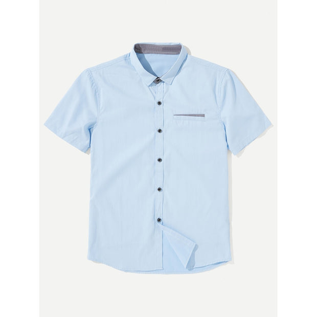 Men Contrast Gingham Shirt