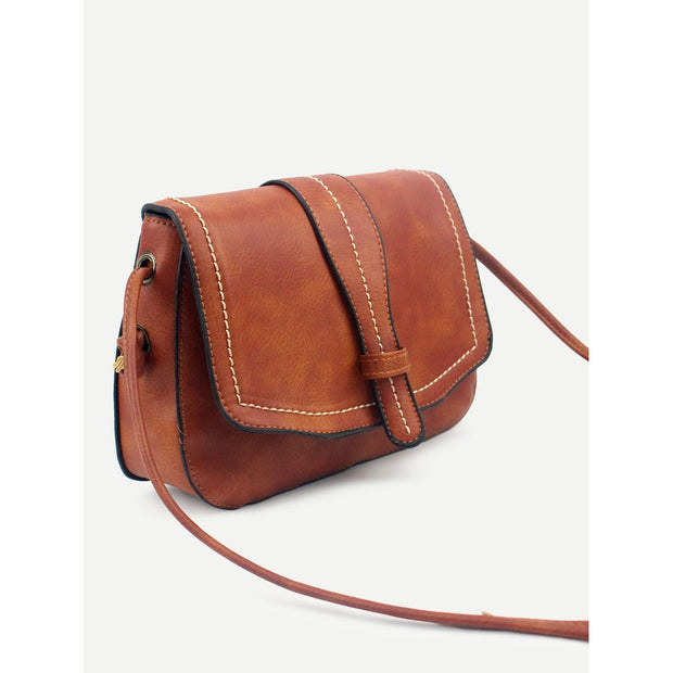 Brown Faux Leather Saddle Bag
