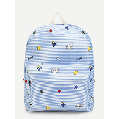 Graffiti Print Pocket Front Backpack