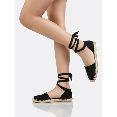 Lace Up Ankle Strap Espadrille Flat BLACK