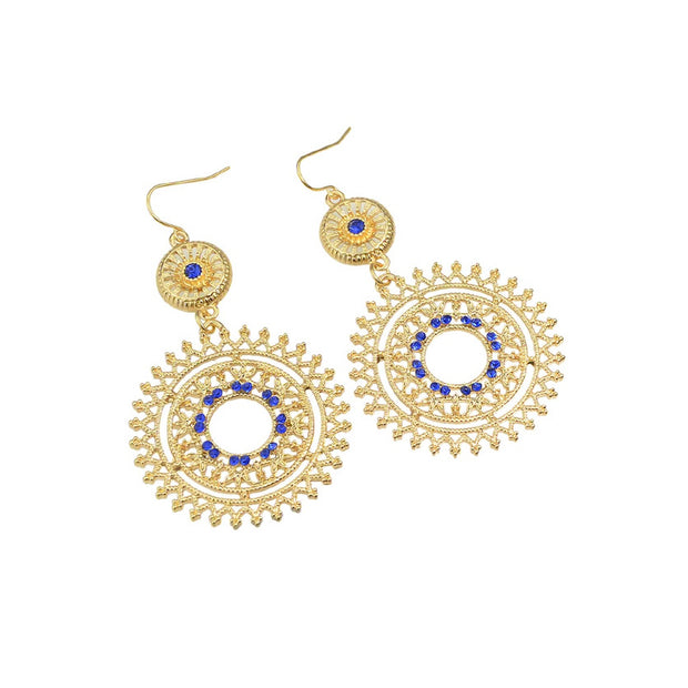Blue Hollow Out Flower Simulated Rhinestone Earrings