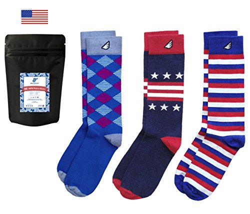 Premium Quality Pack Colorful Fun Patterned Mens Dress Socks, Made in America…