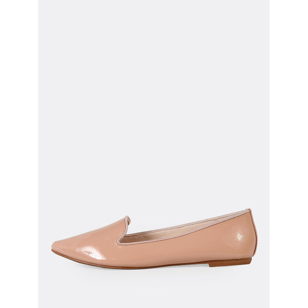 Patent Pointy Toe Loafer Flat NUDE