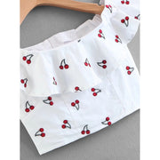 Cherry Print Flounce Crop Top