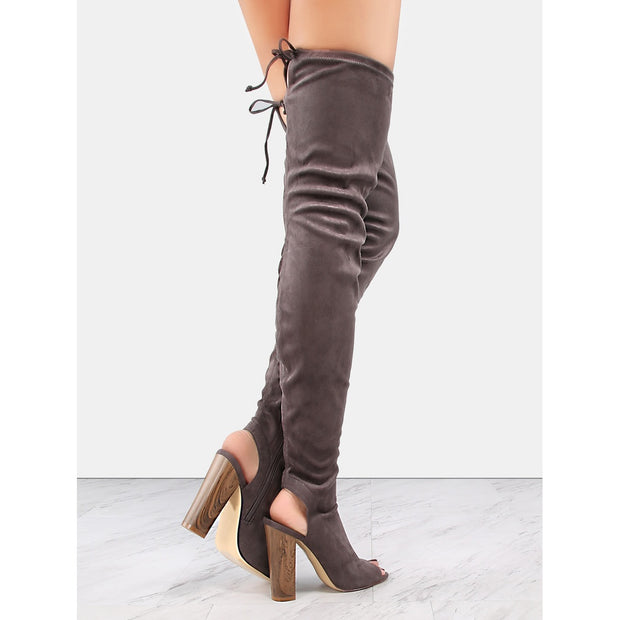 Peep Toe Faux Suede Thigh Boots GREY