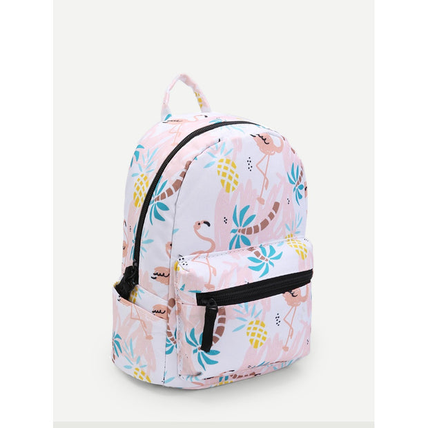 Flamingo Print Pocket Front Backpack