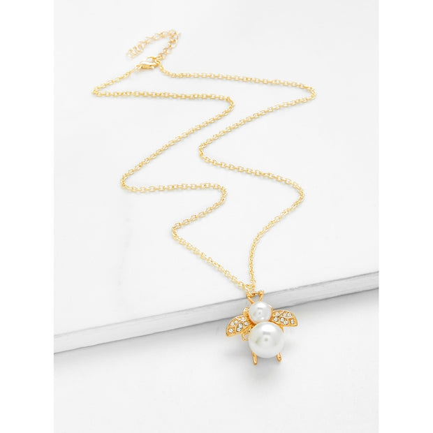 Bee Pendant Chain Necklace With Faux Pearl