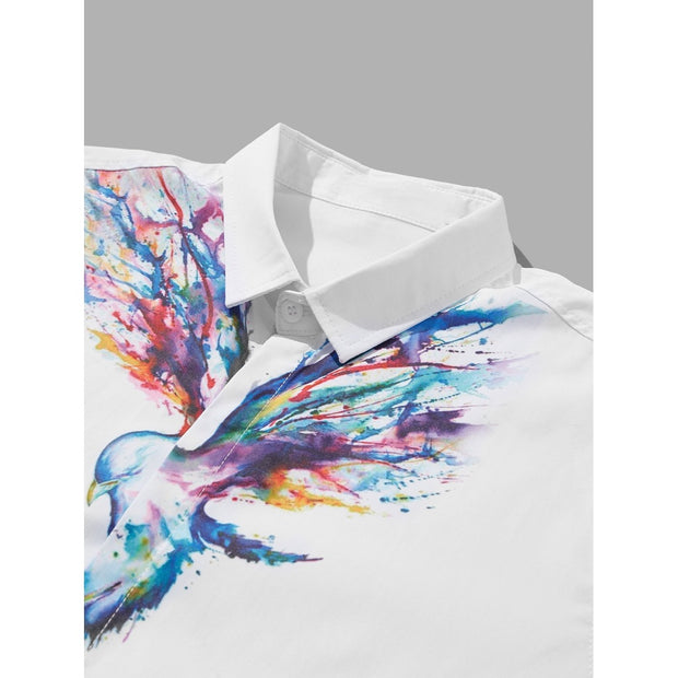 Men Bird Print Blouse