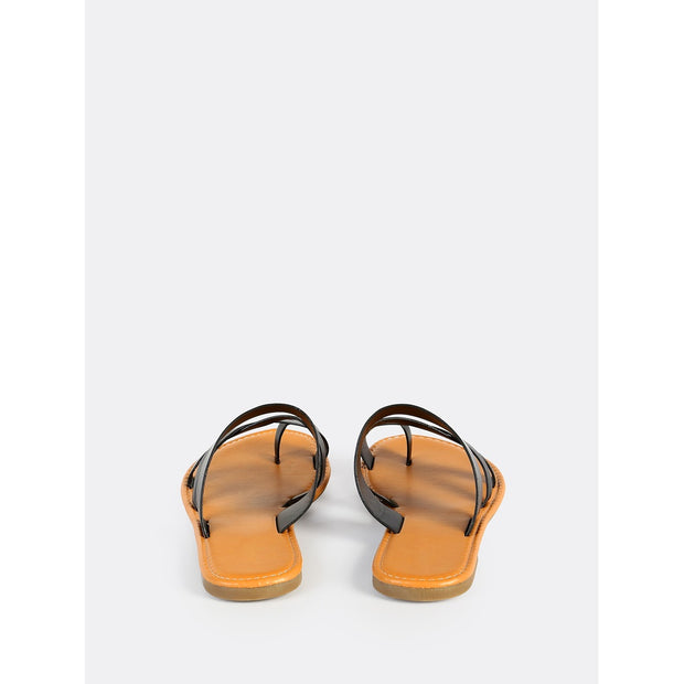 Faux Leather Toe Ring Sandals BLACK