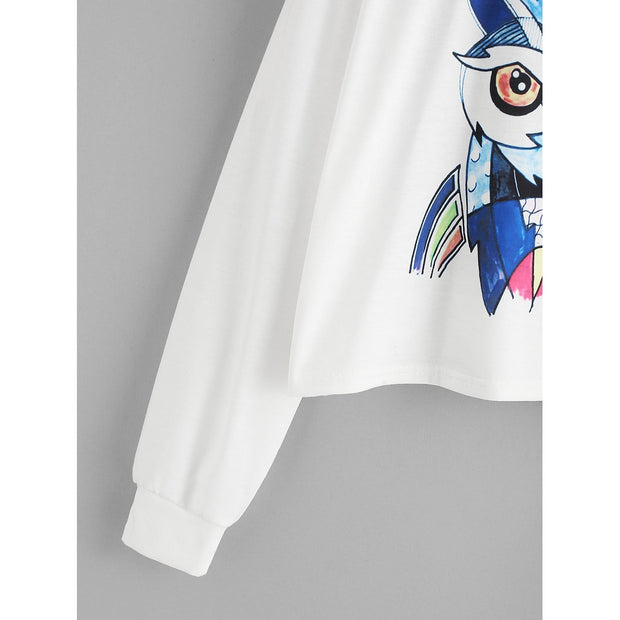 Cartoon Owl Print Tshirt