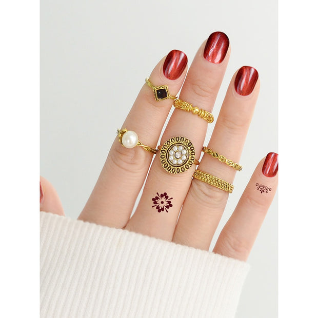 At-Gold Simple Pearl Ring  6-Pieces Set