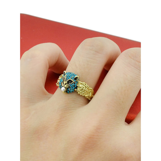 Animal Shape With Blue Rhinestone Party Rings