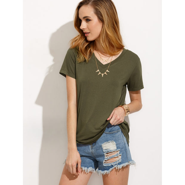 Army Green V Neck Short Sleeve T-shirt