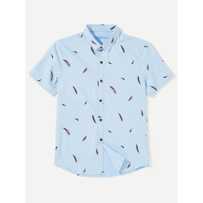 Men Feather Print Shirt