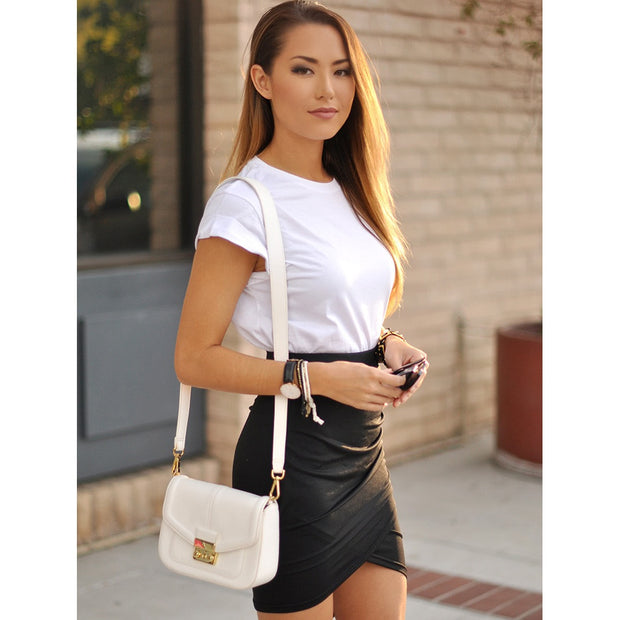 Asymmetrical Ruched Overlap Bodycon Skirt