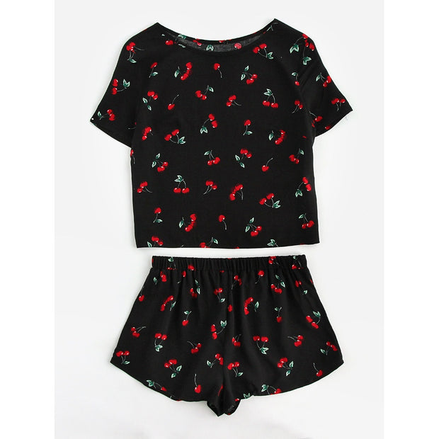 Cherry Print Top And Shorts Pajama Set