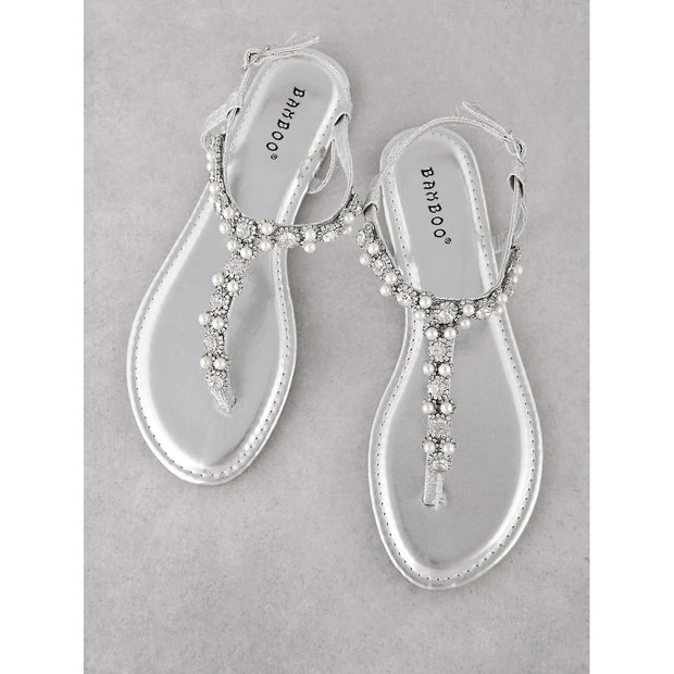 Pearl and Jewel Embellished Glitter T-Strap Sandal