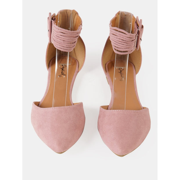 Buckled Ankle Strap Ballerina Flat
