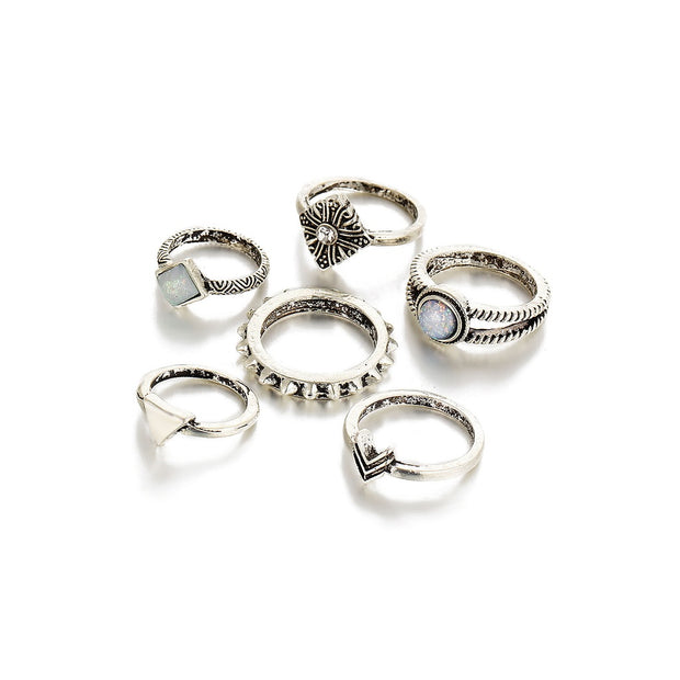 Antique Silver Multi Modelling Carved Ring Set