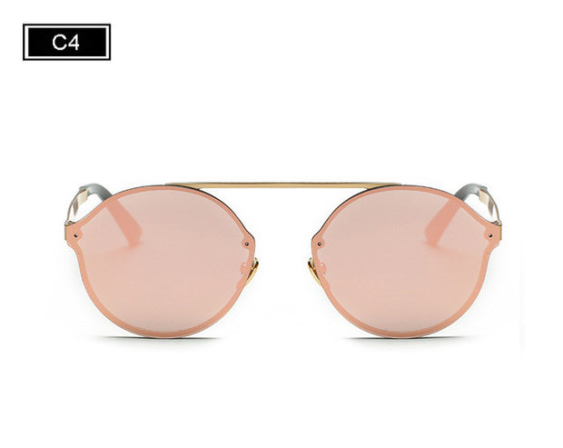 Women Vintage Round Sunglasses Rimless Flat Top Frame Coating Mirror