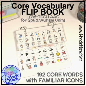 Where Vocabulary Of Autism Is Failing >> Core Vocabulary Flip Book Aac For Emergent Users In Sped
