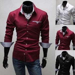 Mens Slim Fit Business Shirt Long Sleeve Dress Shirts Casual Cotton T-Shirt Tops