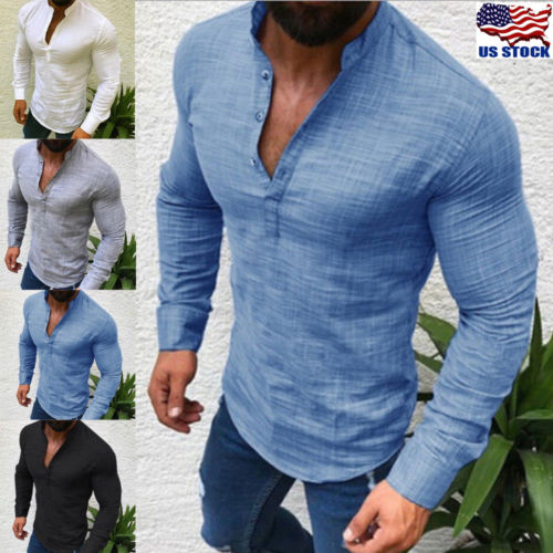Mens Polo T Shirt Long Sleeve Linen Shirts Casual Breathable Soft V Neck Tops US