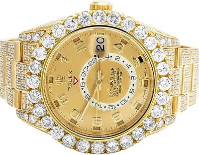 Mens 18K Yellow Gold 326938 Rolex Sky Dweller 45mm VS Diamond Watch 26.5  Ct