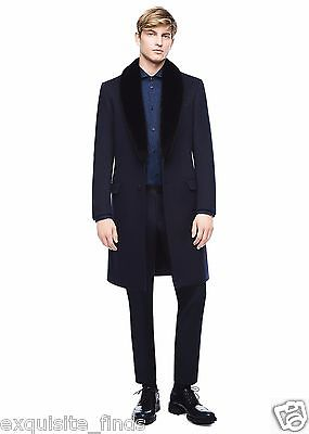 $7,225 New Versace Black Wool & Cashmere Coat With Mink Fur 48 - 38, M