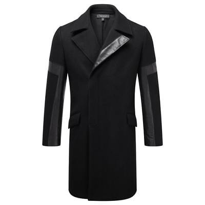 NEW MIGUEL ANTOINNE MENS MILO WOOL + LEATHER COAT