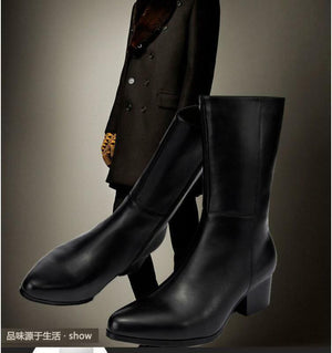 England Mens Pointy Toe Cuban Heel High Mid-calf Boots Shoes Zipper Formal Dress