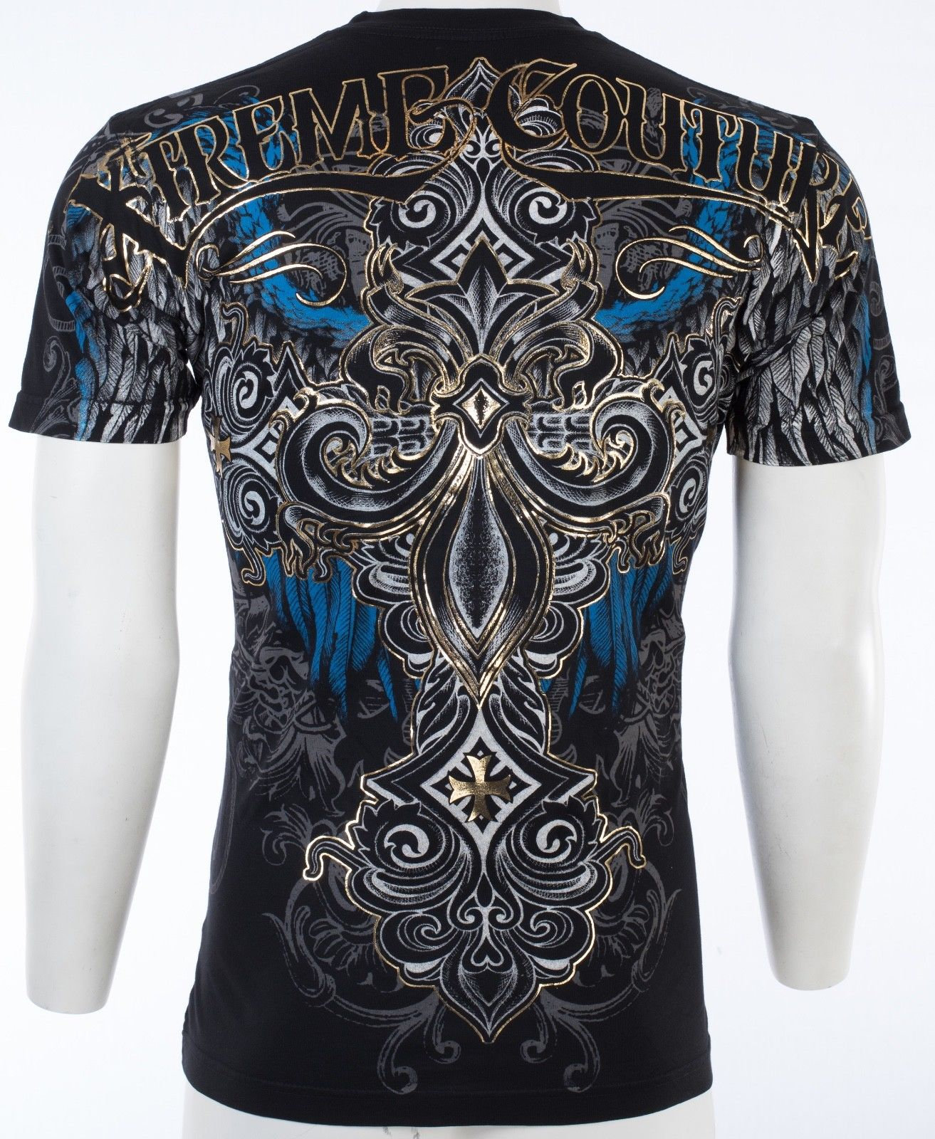XTREME COUTURE by AFFLICTION Mens T-Shirt ENSIGN Cross Wings BLACK