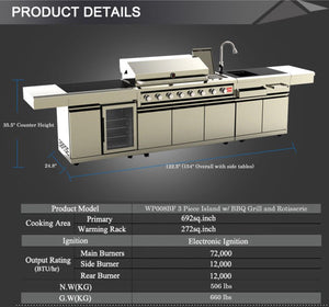 NEW Stainless Steel Outdoor BBQ Kitchen Island Grill w/ Sink + Wine Cooler Combo