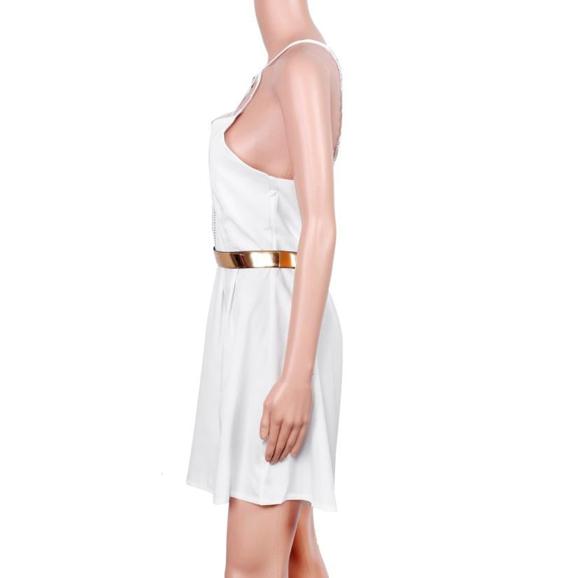 Jecksion Women white sling dress
