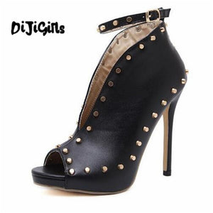 2018Europe Popular Street beat rivet fish mouth shoes High-heeled Catwalk sexy Rome Casual Buckle Strap PU heel 12cm Woman pumps