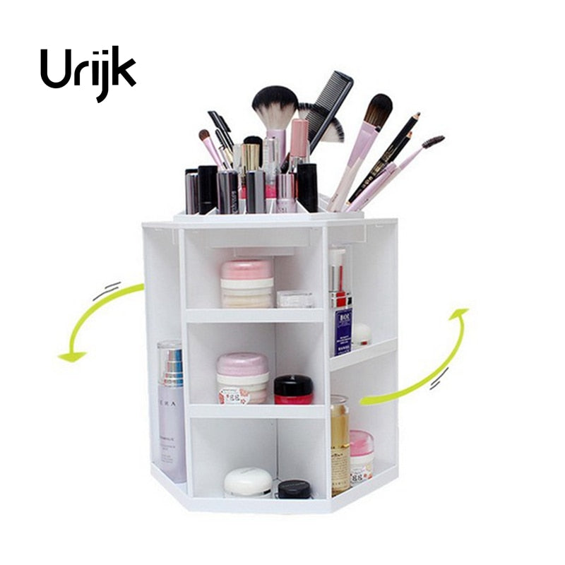 Urijk Fashion 360-degree Rotating Makeup Organizer Box Brush Holder Jewelry Organizer Case Jewelry Makeup Cosmetic Storage Boxes