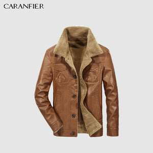 CARANFEIR PU Leather Jacket Autumn Winter Men'Jacket Warm Leather Business Casual Solid Color Thick Wide-Collared Winter Jacket