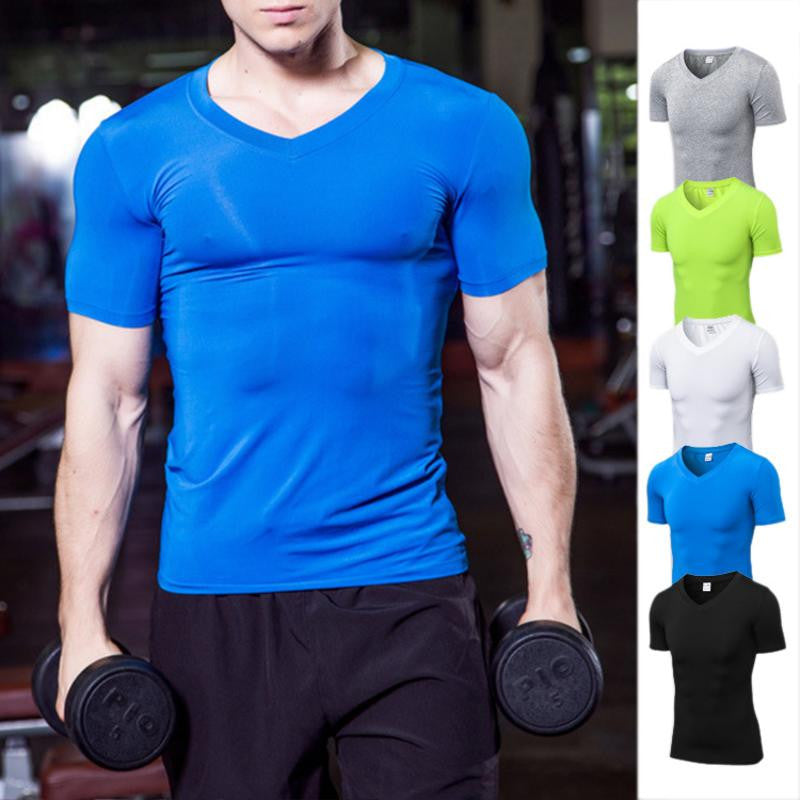 Men's Short Sleeves Solid Color Fitness V-neck T-shirt Fast Dry Tight Body Building Clothing