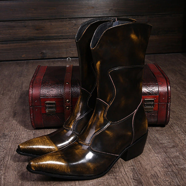Western Cowboy Boots Men Medium-calf Genuine Leather Mens Boots 6.5cm Heels Botas Hombre Motorcycle Military Boots Male, EU38-46