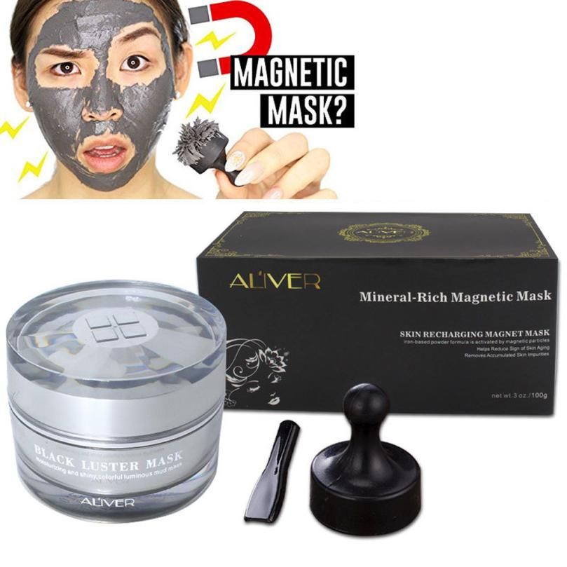 2018 New Arrival Mineral Rich Magnetic Face Mask Pore Cleansing Removes Skin Impurities Mask  Seaweed Mask+ Spatula + Magnet