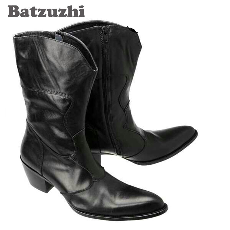 Batzuzhi Black Fashion Vintage Man Boots Pointed Toe Fashion Male Boots Increased High Heels Horsehair Genuine Leather Boots Men