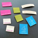 "Sewing Labels: ""THE SWEARY SEWIST MULTIPACK"" -  woven sewing labels 10 Pack"
